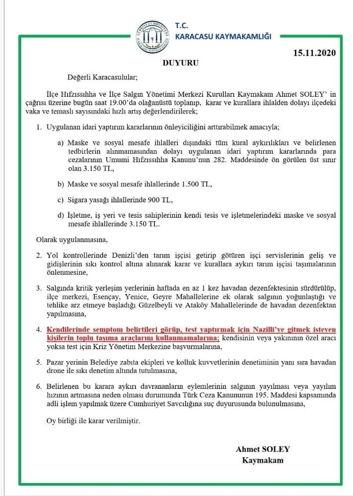Karacasu'da Korona virüs cezaları üst sınıra çekildi karacasuda korona virus cezalari ust sinira cekildi 2 ZLOdXMd4